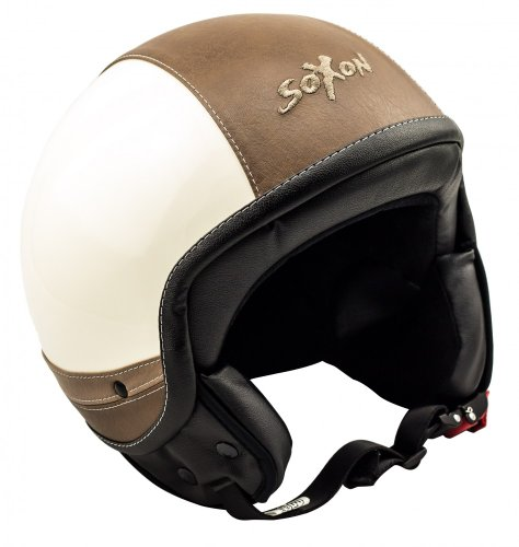 SOXON SP-301-URBAN Creme Motorrad-Helm Roller-Helm Jet-Helm Bobber Scooter-Helm Pilot Cruiser Vintage Mofa Chopper Helmet Biker Vespa-Helm Retro, ECE zertifiziert, inkl. Stofftragetasche, Beige (Urban), XL (61-62cm)