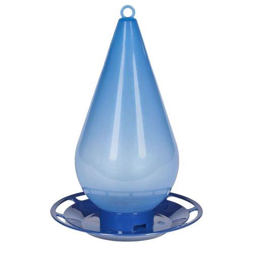 Perky-Pet Comedero Opus Bebedero de Agua Fresca para los pájaros-Decoración Azul translúcida en Forma de Gota a Colgar en el jardín para abrevar los Aves en casa #781