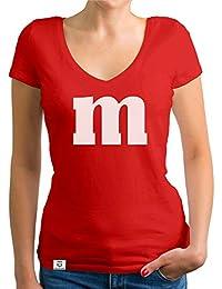 shirtdepartment - Damen T-Shirt V-Ausschnitt - M und M - Karneval Kostüm und Faschings Verkleidung für Frauen