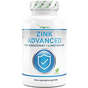 Vit4ever® Zink Advanced – 400 Tabletten mit 25 mg – Zinkbisglycinat + L-Histidin – Optimale Bioverfügbarkeit – Chelat-Komplex – Laborgeprüft – Vegan – Hochdosiert