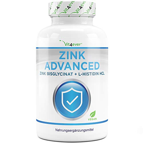 Vit4ever® Zink Advanced - 400 Tabletten mit 25 mg - Zinkbisglycinat + L-Histidin - Optimale Bioverfügbarkeit - Chelat-Komplex - Laborgeprüft - Vegan - Hochdosiert