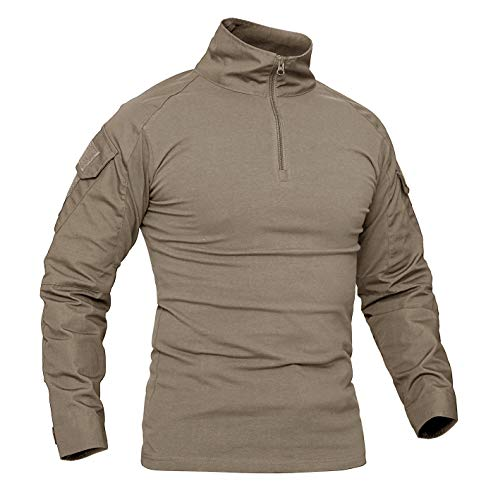 Khaki Bdu Shirt (KEFITEVD Army Shirt Slim Fit Langarm Herren Shirt Flecktarn Trekking Camping USA Camouflage-Oberteil Khaki L (Etikett 2XL))