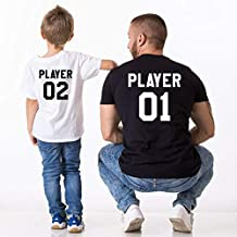 Father Son Shirt Outfits Me and Mini Me Player 01 for Dad Player 02 for Baby Daughter T Shirts Family Look Matching Clothes : 2, Kid 3XL 7-8T