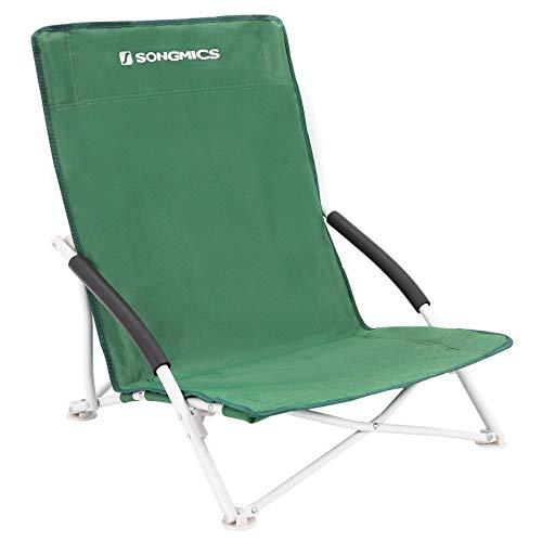 SONGMICS Strandstuhl, klappbarer Campingstuhl, Klappstuhl mit Tragetasche, bis 150 kg belastbar, aus robustem Oxford-Gewebe, für Angeln, Garten und Camping, grün GCB61GV1
