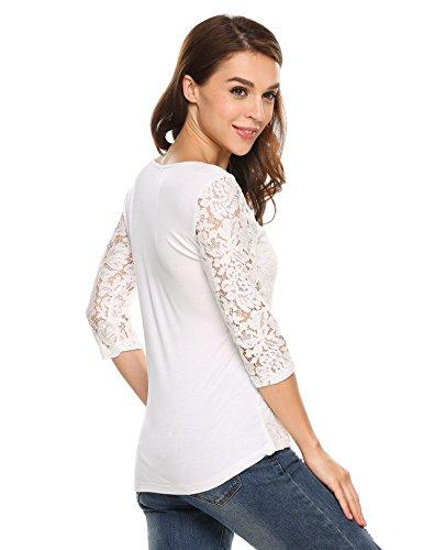 ... Zeagoo Damen Shirt Bluse V-Ausschnitt Patchwork Spitze Floral T-shirt  Slim Langarm Casual ...