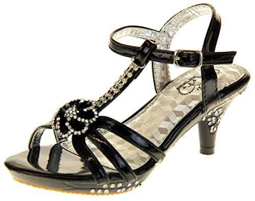 7f70500ad2 Ice Diamond Girls Low Heel Diamente Design Bridal Wedding Shoes Black UK  12.5 Kids