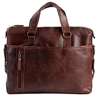BACCINI grand sacoche ordinateur portable 15,4 pouces cuir véritable LEANDRO sac porte-document en bandoulière sac messager marron