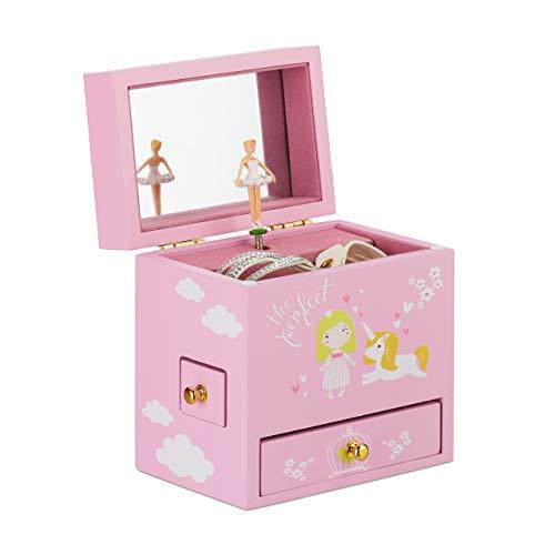 Relaxdays Schmuckkästchen Mädchen, tanzende Ballerina, Schmuckbox mit 3 Schubladen, Motiv Prinzessin und Einhorn, rosa