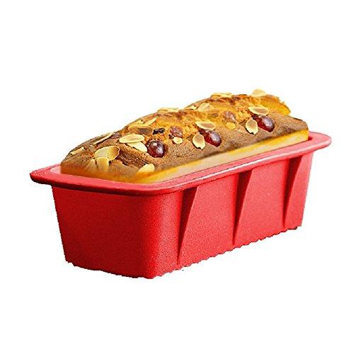 Hangnuo Rectangulaire de pain de Silicone Cuisson Pâtissière Moules gâteau Pan non-Stick, 26,5 x15x 6.4 cm rouge Non-stick-cookie Pan