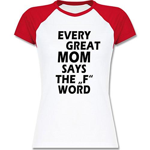 Shirtracer Statement Shirts - Fuck Word - Zweifarbiges Baseballshirt/Raglan T-Shirt für Damen Weiß/Rot