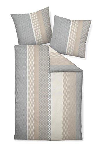 Janine Design Seersucker Bettwäsche Tango 20043-07 Sand Silber 135x200 cm + 80x80 cm