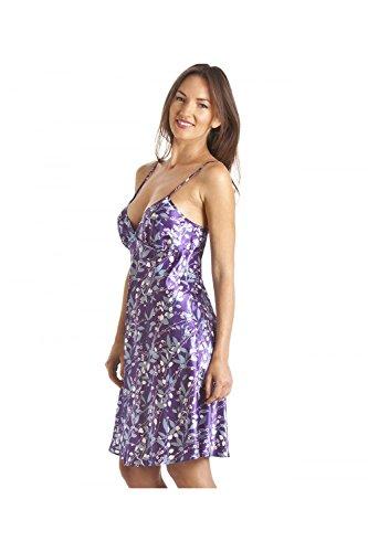 Camille - Damen Negligé aus Satin mit Blumenmuster - luxuriöses Design Violett