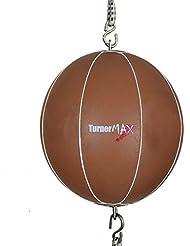 TurnerMax - Pelota de boxeo con fijación doble, correas elásticas, piel marrón natural