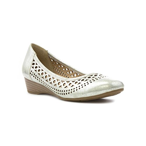 Lotus Womens Silver Chop Out Wedge Court Shoe - Size 5 UK...