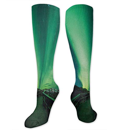 Unisex Highly Elastic Comfortable Knee High Length Tube Socks,Wooden Bridge Solar Sky Scenic Radiant Rays Arctic Magic Scenery,Compression Socks Boost Stamina,Fern Green Dark Blue