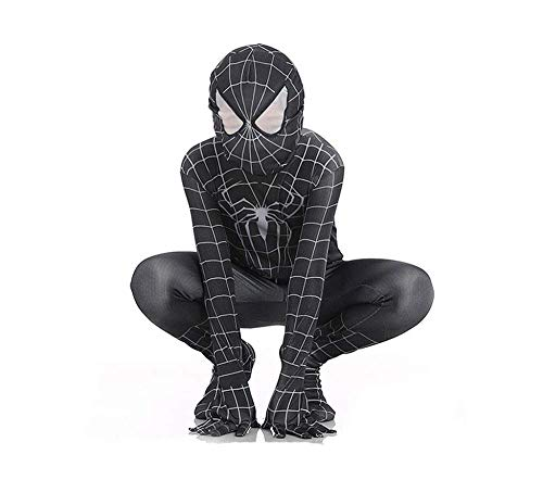 PIAOL Venom Black Spider-Man Kostüm Cosplay Kinder Elastic Bodysuit Halloween Movie Return Performance Kleidung,Black-M