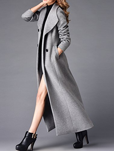 Damen Kaschmir Mantel Lange Graben Mantel Wolle Mantel Grau Stone