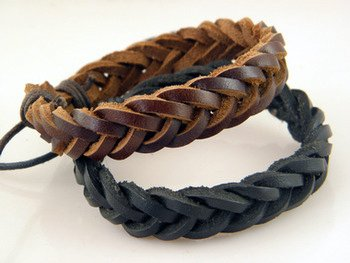 Trendy Lions leather punk knitted bracelet free size high quality (Brown)