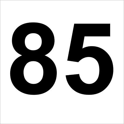 """Preisvergleich Produktbild 3 mal Nummer """"85 """" hochwertige Zahlenaufkleber, schwarz, wetterfeste, 10 cm hoch, aus Hochleistungsfolie, ohne Hintergrund, Zahlen, Nummer, Mülltonne,Mülltonnen, Uahlenaufkleber, Hausnummer, Briefkasten, Aufkleber"""
