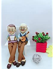 SOME-THING DIFFERENT - Cute Romantic Old Couple Hanging Legs Showpiece - Gogals (Set of 2 Statues)
