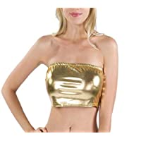 WSPLYSPJY Women Sexy Metallic Strapless Sleeveless Bandeau Tube Crop Tops Golden M