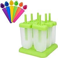 X-Mile Kit de Molde para Helados incluso 6 moldes rectangulares para helados con base 6 moldes de silicona para paletas Food Grade Materials para Ice Pop Ice Cream DIY Lolly Maker Moldes