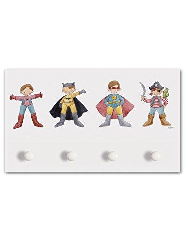Cuadriman Perchero Super Héroes Grande, Madera, Multicolor, 60x35x4 cm