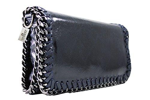 FERETI borsa blu scuro a tracolla con catena vera pelle