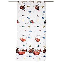 Mendola Home Textiles 10-19DCARS-03 - Tenda con occhielli, motivo: Disney Cars, 140 x 245 cm, colore bianco