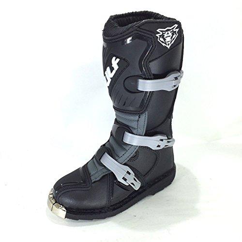 Stivali Bambini: WULF SPORT MX Quad Stivali da moto Enduro Bambini Stivale Motocross Racing Stivali, Nero (EU 38)