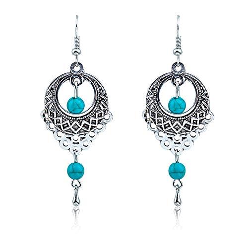 boho donne pendente Hollow ciondolo perlina turchese gancio orecchini wedding Jewelry-argento antico Amesii