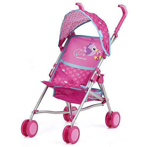 Hauck Puppenbuggy Drive Sun mit Spielzeugkorb, Sonnenverdeck und Gurtsystem | Klappbarer Puppenwagen mit Doppelräder - Birdie Pink
