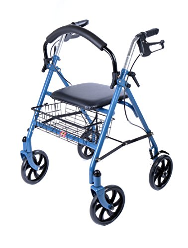 Ability Superstore–Andador Jay azul, ligero, 4ruedas, con asiento acolchado y cesta