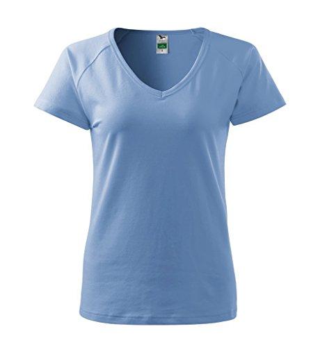 Dress-O-Mat Damen T-Shirt Shirt rundhals klassisch Tailliert Himmel Blau