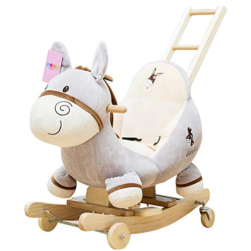 Baby Rocking Chair Horse, Gray Donkey Wood Ride-On Rocker Perfect for Baby 6-36 Months