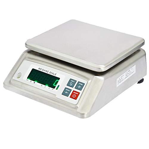WWL Bascula Comercial Digital Bascula Industrial Electrónica Alta Precisión Balanza Impermeable de Acero Inoxidable con Pantalla Led Para Lab Cocina Joyería (Size : 15kg/2g)