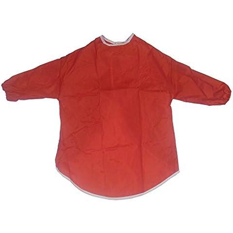 Delantal para niños, artes y manualidades, manga medio, pintura, cocina, 5-7 Años, Rojo