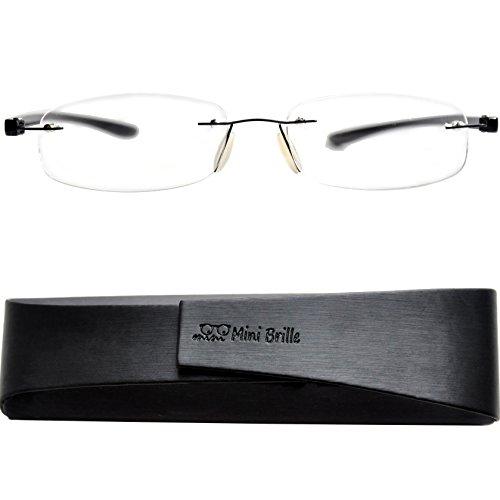 Lesebrille randlos mit ovalen Gläsern - mit GRATIS Etui | Edelstahl Rahmen (Schwarz) | Lesehilfe für Damen und Herren von Mini Brille | +1.5 Dioptrien (Herren-1.5)