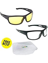 Elligator NightDrive Night Vision Anti Glare Wrap Unisex Sunglasses Pack Of 2 (NVL01|Yellow & White)