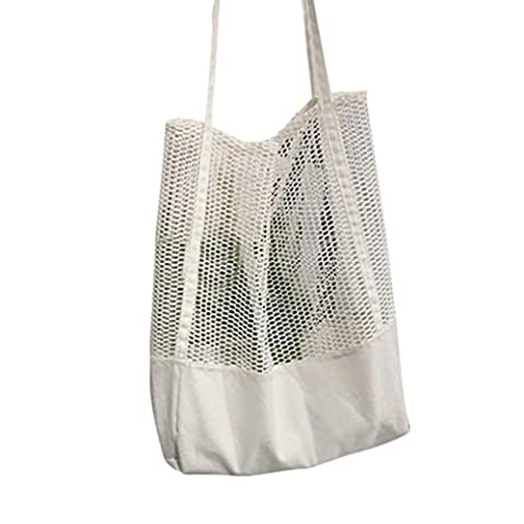 ESAILQ Filles Casual Mode Sac shopping épaule Creux de maillage Shopper Sac de plage Sacs de courses (Blanc)