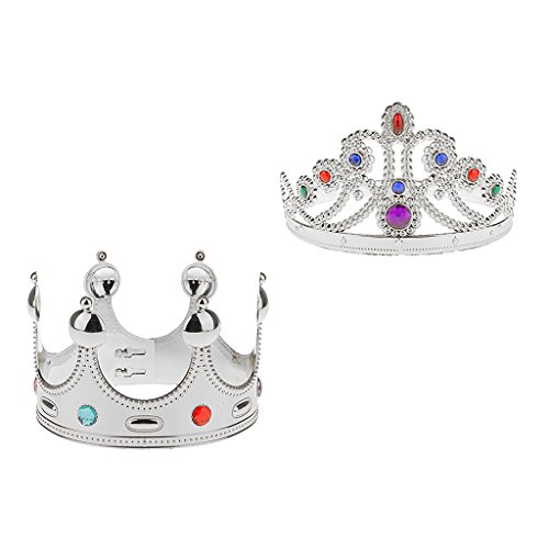Royal Kostüm - Fenteer Erwachsene Jeweled Crown König Queen Royal Kostüm Kostüm Hut Set/2pcs