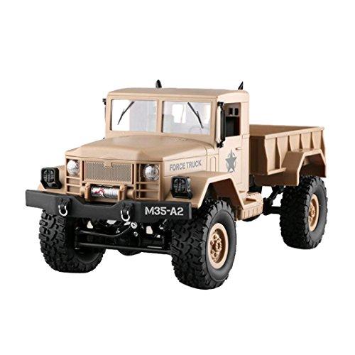 Trada Spielzeug für Kinder, RC Military Truck Armee 1:16 4WD verfolgt Räder Crawler Off-Road Auto RTR Spielzeug NEU RC Auto Beste Geburtstag Geschenk für Kinder Auto Modell Spielzeug (Gelb) -