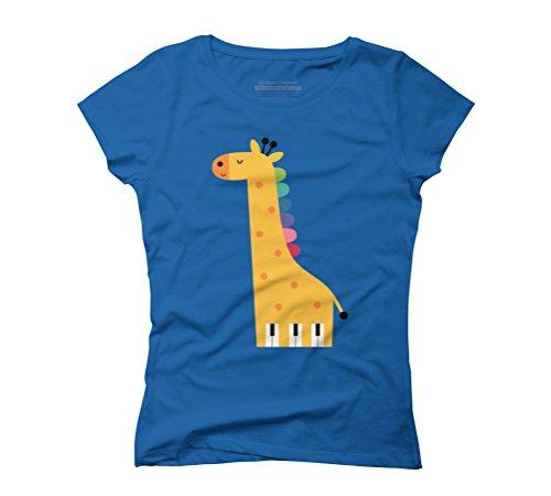 Giraffe Piano Women's Graphic T-Shirt - Design By Humans Royal Blue