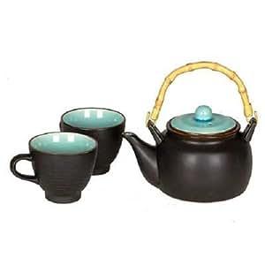 Bleu et Noir mat-Style Chinois-théière et 2 tasses à thé, Teaset MA