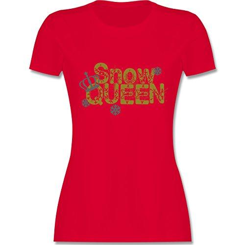 Après Ski - Snowqueen - tailliertes Premium T-Shirt mit Rundhalsausschnitt für Damen Rot