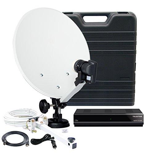 Telestar 5103320 HDTV Camping-Satellite-Anlage (DVB-S) mit digiHD TS mobile Satellite-Receiver (Full HD, HDMI, F-Buchse, DVB-S2/-S, 2x USB 2.0) schwarz