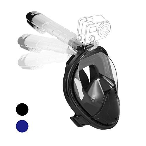 MANZOKU Tauchmaske Vollgesichtsmaske Schnorchelmaske Easybreath mit 180° Sichtfeld Action Kamerahaltung Anti-Fog und Anti-Leak für Erwachsene und Kinder