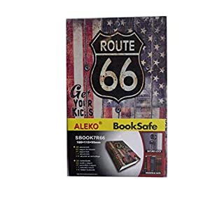 ALEKO Diversion Book Safe with Key Lock for Home, Business ROUTE 66 (180x115x55)