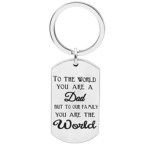 �nger Herren Erkennungsmarke Gravur to The World You Are a dad but to Our. Schlüsselanhänger Edelstahl Schlüsselbund Silber ()