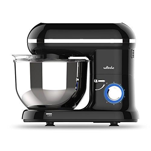 Küchenmaschine Food Processor Wancle Stand Mixer 1260w, mit 5.5 Liter Edelstahlschüssel, Spritzschutz, Rührbesen, Knethaken und Ballon-Schneebesen (Schwarz)